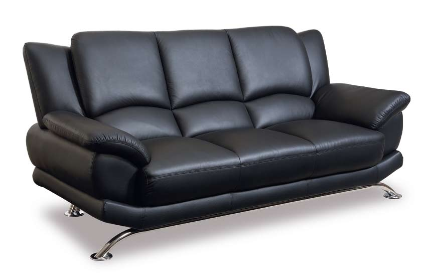 global modern sofa and loveseat set with leather finish set by global usa - Black Leather Loveseat