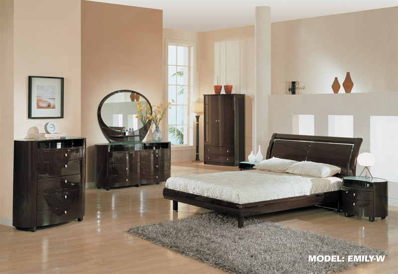 EMILY  Wenge High Gloss Finish Contemporary King Bedroom Set W By Furniture in brooklyn at gogofurniture com