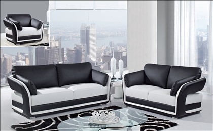 Merveilleux White/Black Ultra Bonded Leather 3 PC Sofa Set (Sofa, Loveseat And Chair)