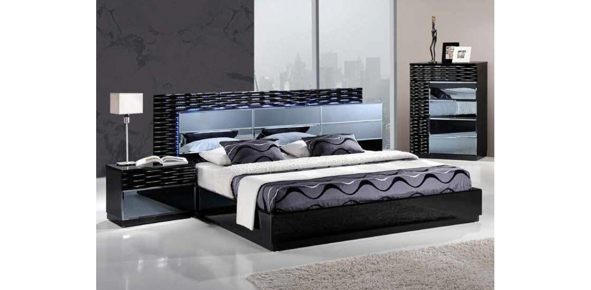 Beau MANHATTAN BLACK BEDROOM SET 5PC GLOBAL FURNITURE
