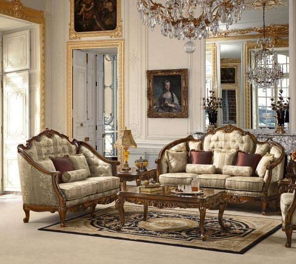 Traditional European Design Formal Living Room Sofa Set W/ Carved Wood  Accents MCHD 15 Part 49