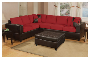 Contemporary 2 Pieces Red Microfiber Sectional Sofa Set