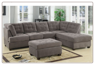 Sectional Sofa Waffle Suede Charcoal F7139 Poundex