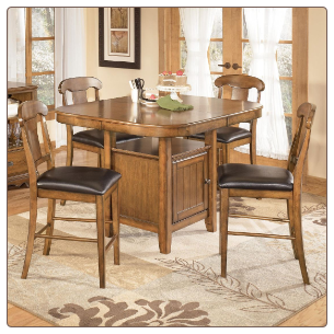 Wood Counter Height Dining Set with Storage Table, 'Mannus' Collection. Signature Design by Ashley Furniture