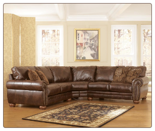 Signature Design by Ashley DuraBlend - Antique Sectional with Rolled Arms and Wood Bun Feet
