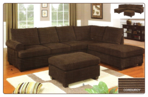 Poundex Bobkona 2 Piece Stripe Bella Sectional Sofa in Rich Chocolate finsh - F7135