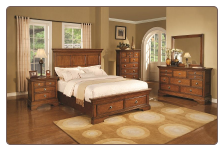 6 Piece Sandpiper Bedroom Set in Warm Oak Finish by Coaster - 201551