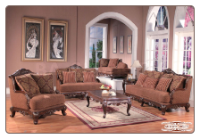 Traditional French Provincial 2 PC Fabric Living Room Set (Sofa and Loveseat