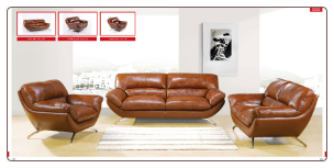 ESF  -2262 Italian Leather Modern Living Room Set W/Adjustable Headrests