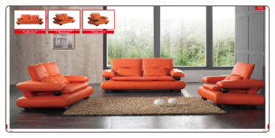 ESF  - Orange Leather Modern Living Room Set W/Adjustable Headrests