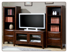 Wood Veneer Entertainment Unit in Walnut or Cappuccino Finish, by Coaster Furniture