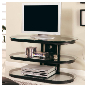 TV Stands Contemporary Media Console with Glass and Chrome Accents by Coaster