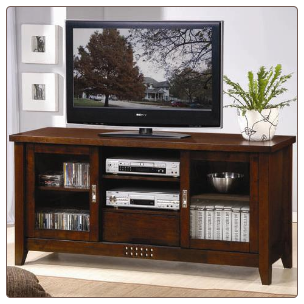 TV Stands Transitional Media Cosole with Doors and Shelves by Coaster