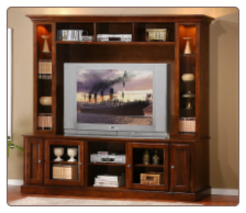 Merlot Oak 2 Pcs TV Console & Hutch Wall Unit