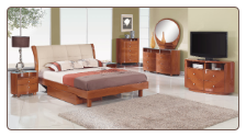 Evelyn Platform Bedroom Set - Cherry - Global Furniture