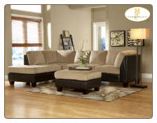 Royce Two Tone Sectional in Brown Bella Microfiber-Homelegance