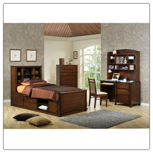 Phoenix Collection Bedroom Furniture Set with Chest Bed in Rich Deep Walnut Finish by Coaster - 400280
