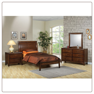 Phoenix Collection Bedroom Furniture Set with Platform Bed in Rich Deep Walnut Finish by Coaster - 400281