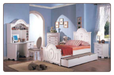 Sophie Panel Bed Bedroom Furniture Set in White Finish by Coaster - 400101