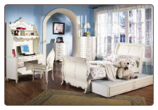 Alexandria Sleigh Bed Bedroom Furniture Set in White Pearl Finish with Gold Accents by Coaster - 400201