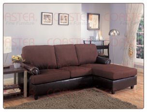 Rupard Brown Microfiber/Vinyl Sofa Chaise Reversible Sectional  Set by Coaster - 500605