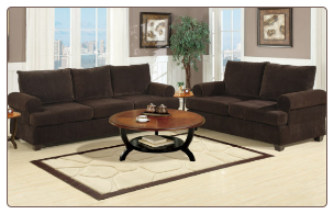 Corduroy Chocolate Contemporary Style Sofa and Loveseat Set F7142