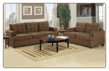Waffle Suede Truffle Sofa and Loveseat Set F7143