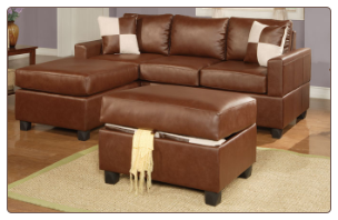 Leather Match Brown Sectional Sofa F7335