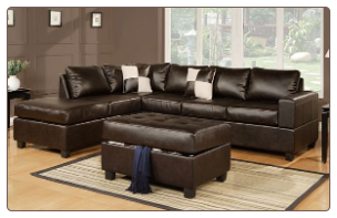 Poundex 7351Leather Match/Espresso Brown Leather Sectional