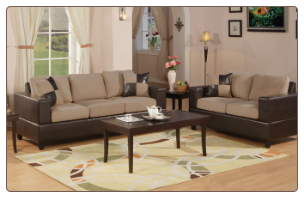 Poundex Bobkona F7595 Hazelnut 2pc Sofa & Loveseat Set sofa and loveseat