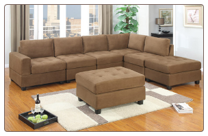 Modular microfiber sectional in Saddle Brown