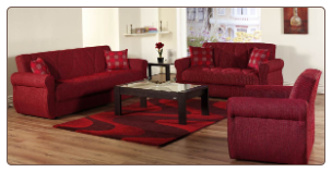 Melody 2 Pcs Living Room Set in Alfa Red (Sofa and Loveseat) - Sunset Furniture-Istikbal
