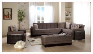 Roma 3 Pcs Sectional Set in Amiral Brown Fabric - Sunset Furniture-Istikbal