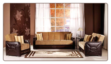 Shape 2 Pcs Living Room Set in Flora Brown (Sofa and Loveseat) - Sunset Furniture-Istikbal