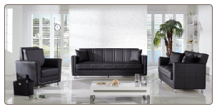 Toledo Leatherette 2 Pcs Living Room Set in Escudo Black (Sofa and Loveseat) - Sunset Furniture-Istikbal