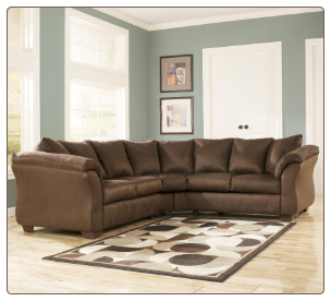 Signature Design by Ashley Darcy Contemporary Sectional Sofa with Sweeping Pillow Arms at Furniture Rack Inc.