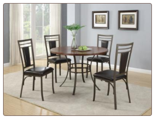 5 Piece Dinette with Vinyl Cushioned Seating