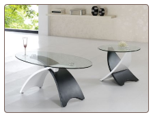Black & White Two-Toned Contemporary Coffee Table with Glass Top