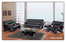 Global  -  Grandiose Curvy Wood and Leather Sofa and Loveseat Set by Global USA