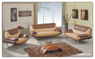 Global  -  Two-Tone Tan and Brown Color Leather Living Room Set by Global USA