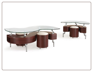 Cocktail Table Set in Curved Shape by Global USA