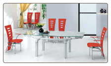 Extendable Glass Dining Table Set in metal and glass106DT by American Eagle