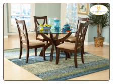 Stardust Collection - Round Glass Top Dining Room Set