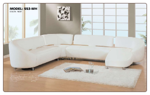 Sectional Leather Sectional 553 in White Color by Global Furnither USA