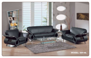 Global  -  Ultra Modern, Dual Colored or Black, Leather Sofa and Loveseat Set by Global USA