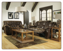Blake - Walnut Brown Leather Reclining Set Signature Design by Ashley Furniture