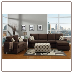poundex  2 pc Chocolate microfiber fabric upholstered sectional sofa with reversible chaise