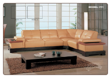Practical Tan Leather Modern Sectional Set By Global Furniture
