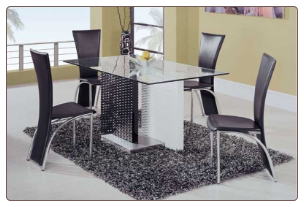 Upscale Contemporary Dining Room Set with Glass Top Table By Global Furnither USA