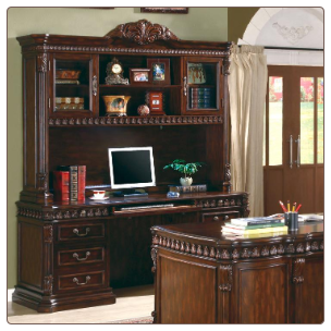 Union Hill Computer Desk & Hutch with Detailed Carvings by Coaster